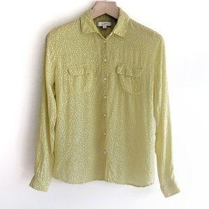 LOFT Bird Print Long Sleeve Button Down Shirt